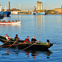 Two Sculls in the Port of Cork in Cork, Ireland<br />