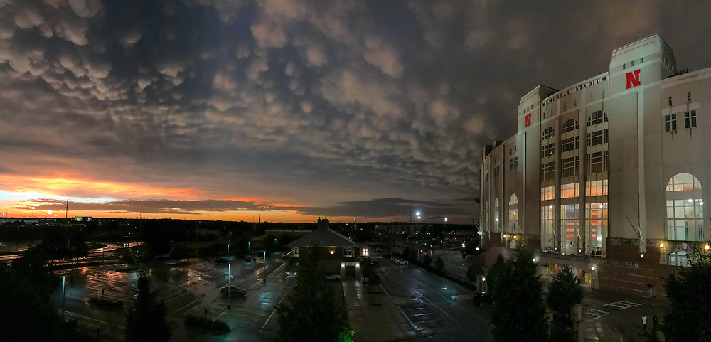 Memorial Stadium after the storm, pano