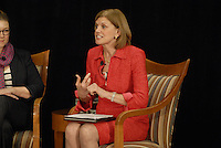 Federal Reserve Bank of Cleveland President Sandra Pianalto makes the opening remarks at the 'Conversation on the Economy,' a forum held at Pfahl Hall in the Fisher College of Business at Ohio State on Nov. 30, 2010..