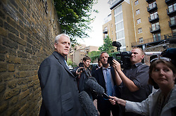 © licensed to London News Pictures. London, UK  07/07/2011. Jules Stenson Features Editor of The News Of The World talks to media at the entrance to the News International building in East London today (07/07/2011). It has been announced that The News of the World newspaper will close after a final edition this weekend, following the phone hacking scandal. Please see special instructions for usage rates. Photo credit should read: LNP