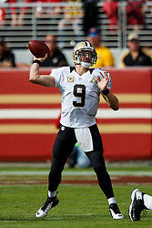 SANTA CLARA, CA - NOVEMBER 06: Quarterback Drew Brees #9 of the New Orleans Saints passes against the San Francisco 49ers during the first quarter at Levi's Stadium on November 6, 2016 in Santa Clara, California.  (Photo by Jason O. Watson/Getty Images) *** Local Caption *** Drew Brees