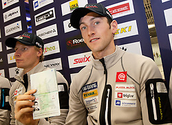 Klemen Bauer and Jakov Fak with new Slovenian passport at press conference of Slovenia Biathlon team before new season 2010 - 2011, on November 24, 2010, in Emporium, BTC, Ljubljana, Slovenia.  (Photo by Vid Ponikvar / Sportida)