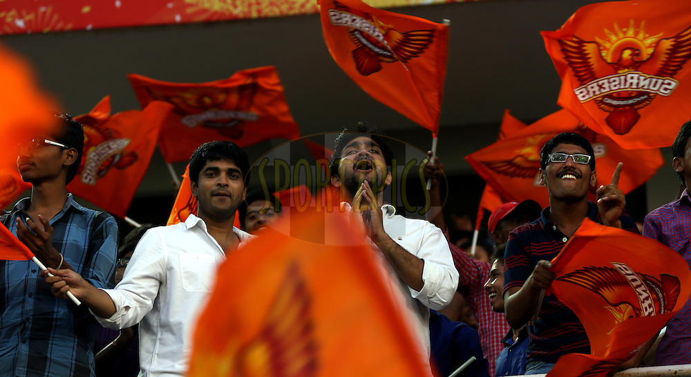 Fan's enjoys during match 39 of the Pepsi Indian Premier League Season 2014 between the Sunrisers Hyderabad and the Kings XI Punjab held at the Rajiv Gandhi Cricket Stadium, Hyderabad, India on the 14th May  2014<br /> <br /> Photo by Sandeep Shetty / IPL / SPORTZPICS<br /> <br /> <br /> <br /> Image use subject to terms and conditions which can be found here:  http://sportzpics.photoshelter.com/gallery/Pepsi-IPL-Image-terms-and-conditions/G00004VW1IVJ.gB0/C0000TScjhBM6ikg