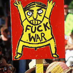 A funny protest sign in an anti-war protest in San Francisco.