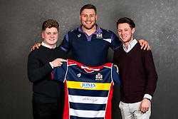 Nick Haining of Bristol Rugby poses with his sponsors during the Bristol Sport player sponsor evening - Rogan/JMP - 19/03/2018 - SPORT - Ashton Gate Stadium - Bristol, England - Big Sports Breakfast 2017.