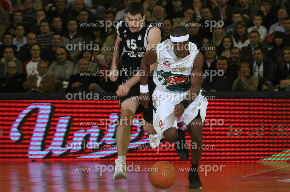Maurice Bailey during second semi-final match of Basketball NLB League at Final four tournament between KK Partizan Igokea, Beograd, Serbia and Union Olimpija, Ljubljana, Slovenia, on April 25, 2008, in Arena Tivoli in Ljubljana. Match was won by Partizan 94:90. (Photo by Vid Ponikvar / Sportal Images)