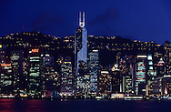Hong Kong. bank of China tower in central at night. .   / tour banque de chine dans central la nuit;  / P0001870  l940301e