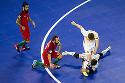 Pola of Spain and Ricardinho of Portugal during futsal match between Portugal and Spain in Final match of UEFA Futsal EURO 2018, on February 10, 2018 in Arena Stozice, Ljubljana, Slovenia. Photo by Urban Urbanc / Sportida