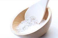 Close up of salt grains on spoon