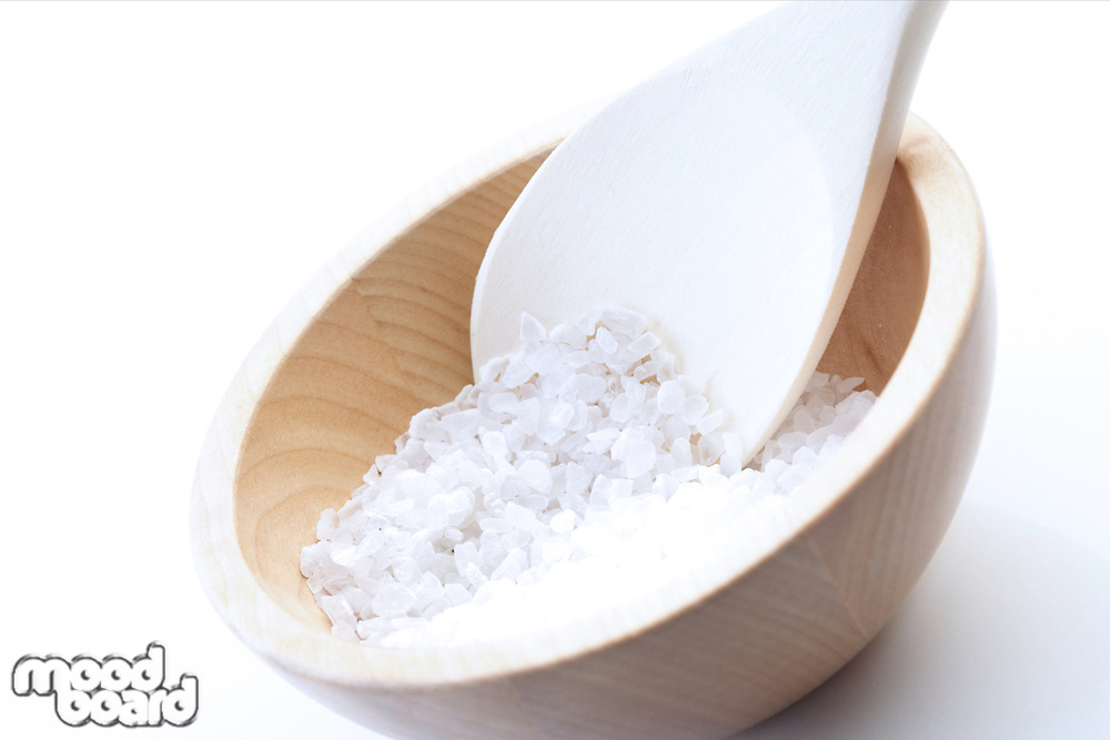 Close up of salt grains on spoon