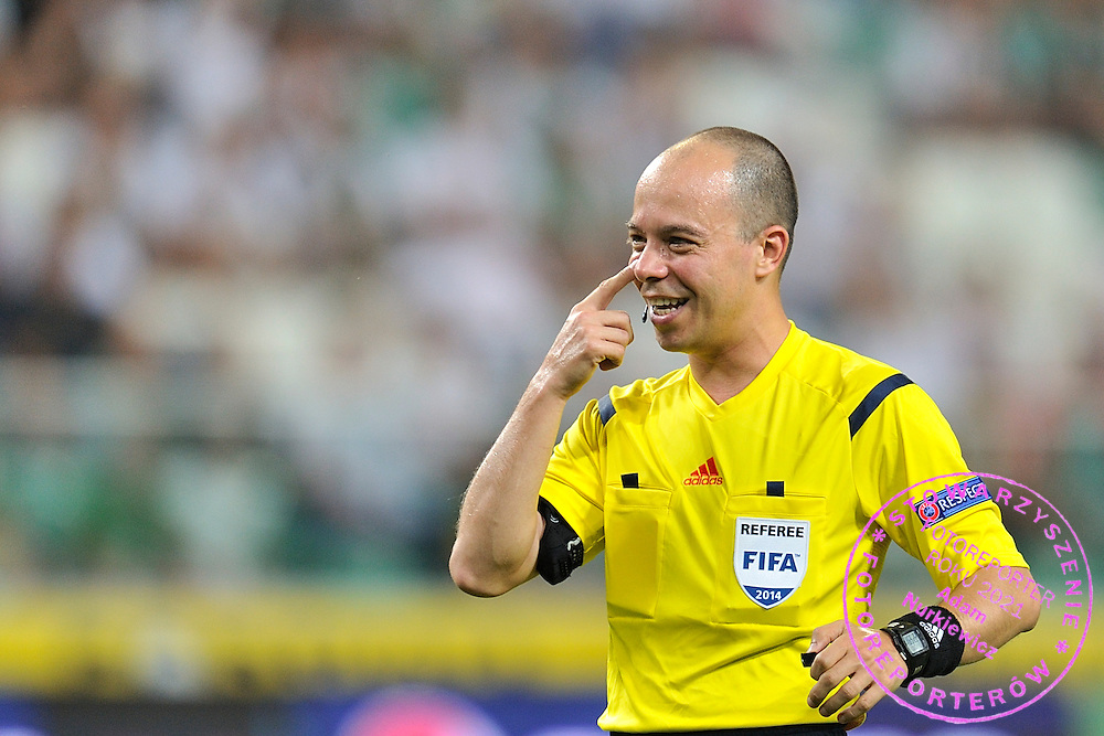Referee Ionut Marius Avram from Romania during Second qualifying round UEFA Champions League soccer match between Legia Warsaw and St. Patrick's Athletic at Pepsi Arena in Warsaw, Poland.<br /> <br /> Poland, Warsaw, July 16, 2014<br /> <br /> Picture also available in RAW (NEF) or TIFF format on special request.<br /> <br /> For editorial use only. Any commercial or promotional use requires permission.<br /> <br /> Mandatory credit:<br /> Photo by &copy; Adam Nurkiewicz / Mediasport