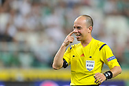 Referee Ionut Marius Avram from Romania during Second qualifying round UEFA Champions League soccer match between Legia Warsaw and St. Patrick's Athletic at Pepsi Arena in Warsaw, Poland.<br /> <br /> Poland, Warsaw, July 16, 2014<br /> <br /> Picture also available in RAW (NEF) or TIFF format on special request.<br /> <br /> For editorial use only. Any commercial or promotional use requires permission.<br /> <br /> Mandatory credit:<br /> Photo by © Adam Nurkiewicz / Mediasport