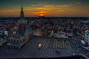 ALKMAAR - by night, Waagtoren, waagplein,aankleding,