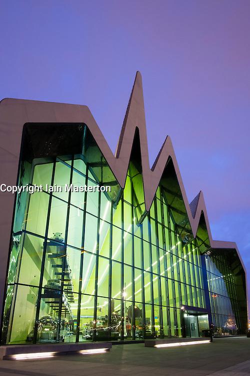 Dusk view of new Riverside Museum of Transport in Glasgow Scotland UK Architect Zaha Hadid