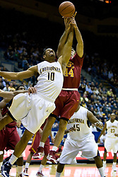 January 9, 2010; Berkeley, CA, USA;  California Golden Bears forward Jamal Boykin (10) battles with Southern California Trojans guard Mike Gerrity (44) for a rebound during the first half at the Haas Pavilion.  California defeated USC 67-59.