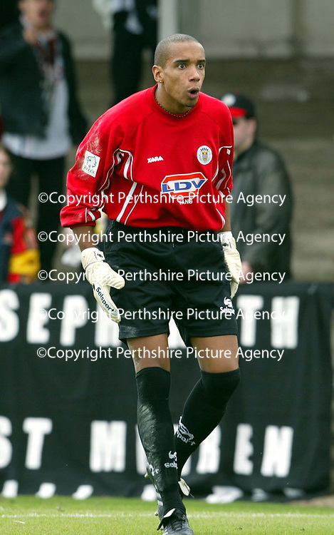 Arbroath v St Mirren..  14.09.02<br />Ludovic Roy<br /><br />Pic by Graeme Hart<br />Copyright Perthshire Picture Agency<br />Tel: 01738 623350 / 07990 594431