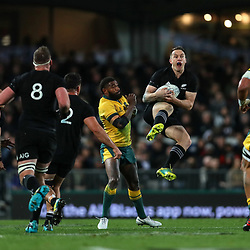 Ben Smith goes up for the ball during the Bledisloe Cup and Rugby Championship rugby match between the New Zealand All Blacks and Australia Wallabies at Eden Park in Auckland, New Zealand on Saturday, 25 August 2018. Photo: Simon Watts / lintottphoto.co.nz