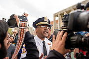 Baltimore, Maryland - April 20, 2015: Baltimore Police Lt. Col. Melvin T. Russell addresses demonstrators gathered outside the Western District Police Station in Baltimore Monday to protest the death of Freddie Gray.<br /> <br /> <br /> CREDIT: Matt Roth for The New York Times<br /> Assignment ID: 30173608A