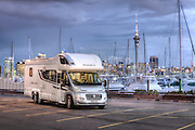 Luxury motorhome beside marina in Auckland, New Zealand