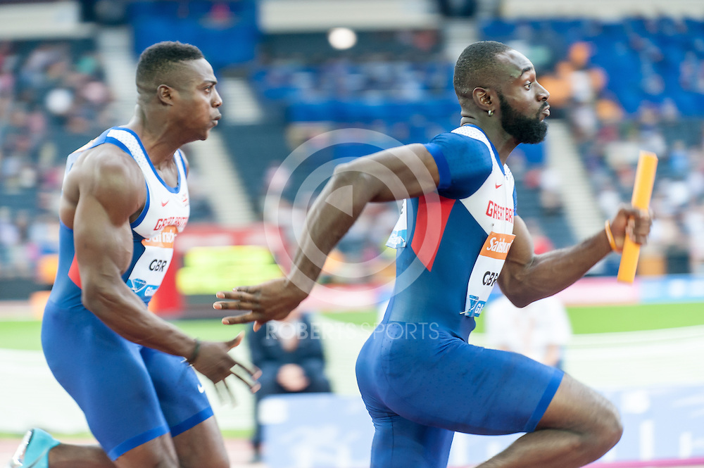 Great Britain A & B teams battle it out during the mens 4x100m relay. Action from the IAAF Diamond League Athletics at Hampden Park in Glasgow, 12 July 2014. (c) Paul J Roberts / RobertsSports