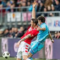 ALKMAAR - 11-12-2016, AZ -  Feyenoord, AFAS Stadion, AZ speler Wout Weghorst, Feyenoord speler Eric Botteghin