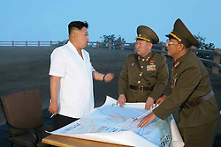 Undated photo from North Korean News Agency shows North Korean leader Kim Jong-un inspecting a Korean People's Army unit, in Pyongyang, North Korea. Photo released June 30, 2014. Photo by Balkis Press/ABACAPRESS.COM