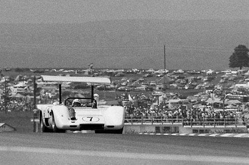 John Surtees, Chaparral McLaren M12, crests hill at 1969 Watkins Glen Can-Am; Photo by Pete Lyons 1969/ © 2014 Pete Lyons / petelyons.com