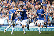 Everton defender Lucas Digne (12) scores a goal 3-0 and celebrates with captain Everton defender Seamus Coleman (23) during the Premier League match between Everton and Manchester United at Goodison Park, Liverpool, England on 21 April 2019.
