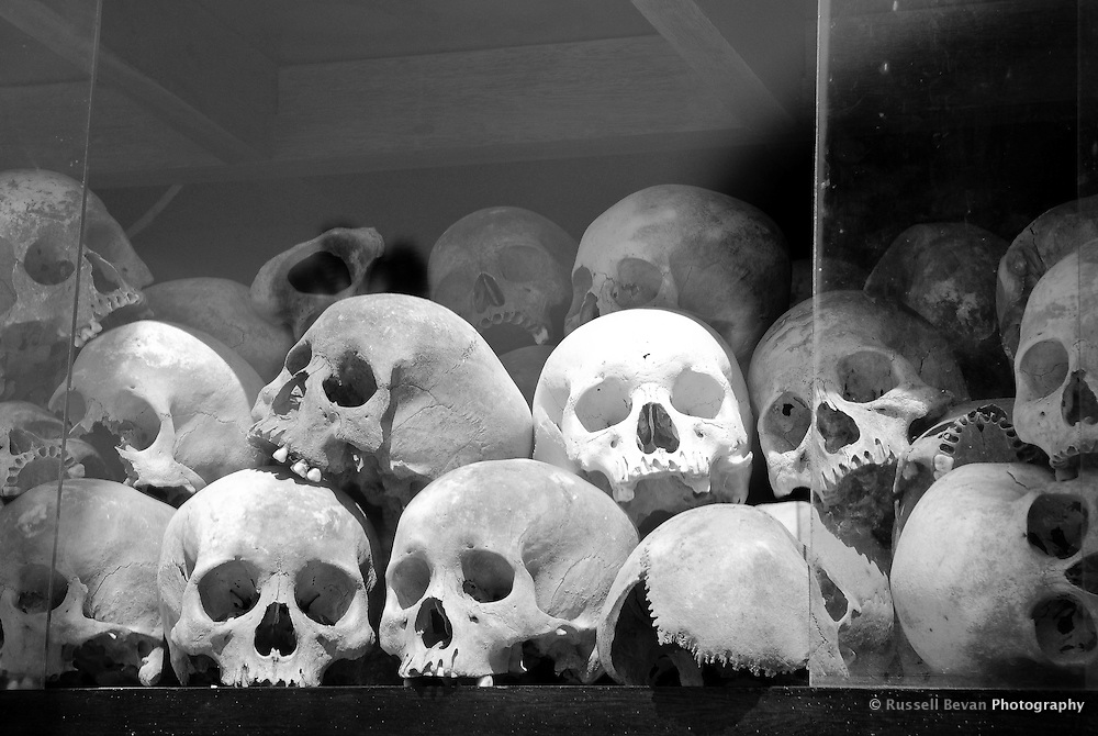Human Skulls in the memorial stupa at Choeung Ek, 17 km South of Phnom Penh, Cambodia