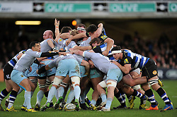 A scrum breaks up as the two packs compete for possession - Mandatory byline: Patrick Khachfe/JMP - 07966 386802 - 05/12/2015 - RUGBY UNION - The Recreation Ground - Bath, England - Bath Rugby v Northampton Saints - Aviva Premiership.