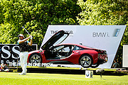 French golf professional Victor Dubuisson tees off trying to get  a hole in one to win a BMW i at the BMW PGA Championship at the Wentworth Club, Virginia Water, United Kingdom on 27 May 2016. Photo by Simon Davies.