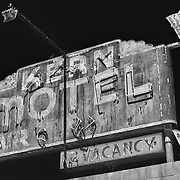 Kern Motel Sign Northbound View - McFarland, CA - Highway 99 - HDR - Infrared Black & White