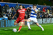 Jonathan Howson (16) of Middlesbrough battles for possession with Ryan Manning (14) of Queens Park Rangers during the EFL Sky Bet Championship match between Queens Park Rangers and Middlesbrough at the Kiyan Prince Foundation Stadium, London, England on 9 November 2019.