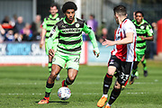 Forest Green Rovers Reuben Reid(26) runs forward during the EFL Sky Bet League 2 match between Cheltenham Town and Forest Green Rovers at LCI Rail Stadium, Cheltenham, England on 14 April 2018. Picture by Shane Healey.