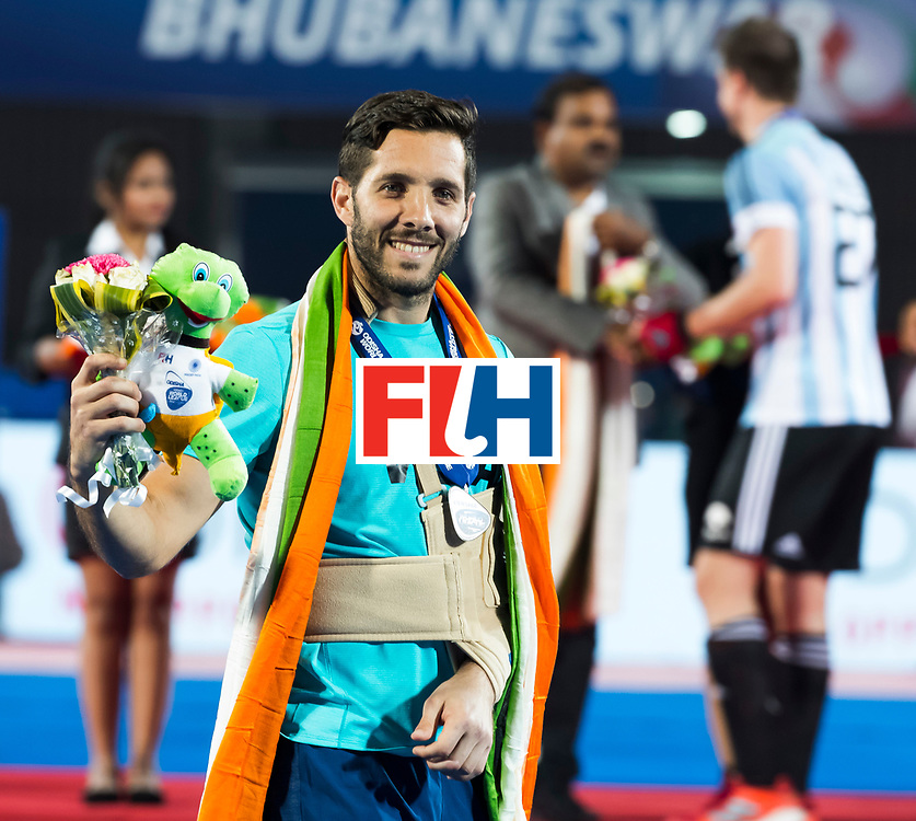 BHUBANESWAR - geblesseerde Agustin Mazzilli (Arg)  Hockey World League finals , Final Australia-Argentina (2-1) . Australia wint de finale. COPYRIGHT KOEN SUYK