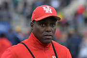 Apr 27, 2018; Philadelphia, PA, USA; Houston Cougars assistant coach Carl Lewis reacts during the 124th Penn Relays at Franklin Field.