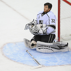 June 2, 2012: Los Angeles Kings goalie Jonathan Quick (32) holds his helmet after it was knocked off during overtime action in game 2 of the NHL Stanley Cup Final between the New Jersey Devils and the Los Angeles Kings at the Prudential Center in Newark, N.J. The Kings defeated the Devils 2-1 in overtime.