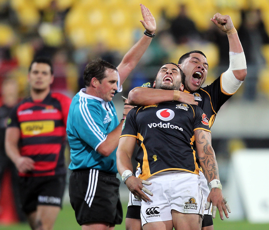 Wellington's Frae Wilson celebrates his try with team mate Motu Matu'u against Canterbury in the ITM Cup rugby game at the Westpac Stadium, Wellington, New Zealand, Wednesday,  July 27, 2011. Credit:SNPA/Marty Melville