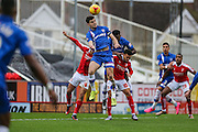 Gillingham's John Egan clears an early Swindon attack during the Sky Bet League 1 match between Swindon Town and Gillingham at the County Ground, Swindon, England on 26 December 2015. Photo by Shane Healey.