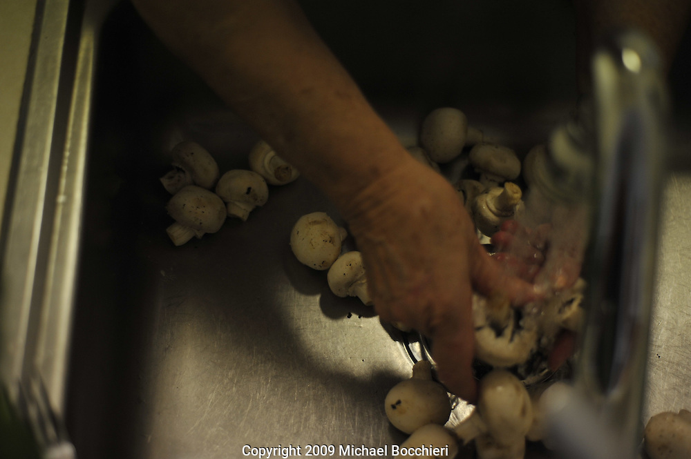 WEST NEW YORK, NJ - AUGUST 03:  General view of hands washing mushrooms in a sink August 03, 2009 in WEST NEW YORK, NJ.  (Photo by Michael Bocchieri/Bocchieri Archive)