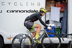 Rachele Barbieri (Cylance Pro Cycling) warms up ahead of the 141 km road race of the UCI Women's World Tour's 2016 Crescent Vårgårda women's road cycling race on August 21, 2016 in Vårgårda, Sweden. (Photo by Sean Robinson/Velofocus)