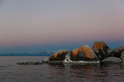 """Tahoe Boulders at Sunrise 7"" - These orange, black, and grey boulders were photographed at sunrise from a kayak near Speedboat Beach, Lake Tahoe."