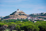 Penafiel Castle distant view in the landscape in Penafiel, Valladolid Province, Spain
