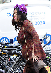 (STRICTLY MAGAZINES ONLY MINIMUN REPRO FEE £150.00 PER PICTURE) 23 year old Catherine Harding pregnant with 41-year-old actor Jude Law's baby spotted out and about in London. UK. 22/10/2014 <br />