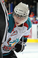 KELOWNA, CANADA - FEBRUARY 15:  Tyson Baillie #24 of the Kelowna Rockets faces off against the Edmonton OIl Kings at the Kelowna Rockets on February 15, 2012 at Prospera Place in Kelowna, British Columbia, Canada (Photo by Marissa Baecker/Getty Images) *** Local Caption *** Tyson Baillie;