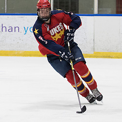 WHITBY, ON - FEB 19, 2018: Ontario Junior Hockey League game between the Whitby Fury and the Wellington Dukes. Noah Lugli #3 of the Wellington Dukes.<br /> (Photo by John Lewis / OJHL Images)
