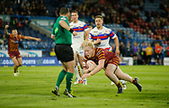 Matty English of Huddersfield Giants dives to score the try against Wakefield Trinity during the Ladbrokes Challenge Cup match at the John Smiths Stadium, Huddersfield<br /> Picture by Stephen Gaunt/Focus Images Ltd +447904 833202<br /> 11/05/2018