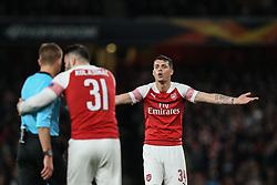 Granit Xhaka of Arsenal shows his frustration towards the referee - Mandatory by-line: Arron Gent/JMP - 02/05/2019 - FOOTBALL - Emirates Stadium - London, England - Arsenal v Valencia - UEFA Europa League Semi-Final 1st Leg