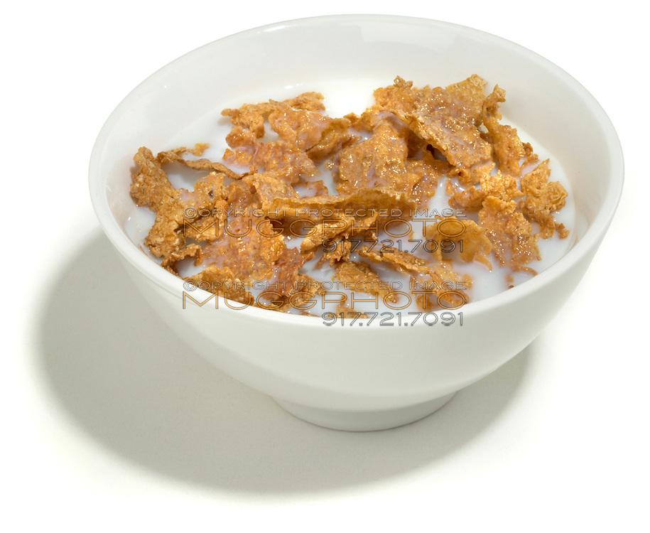 bowl of bran cereal in milk
