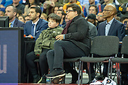 Michael McIntyre and son watch the NBA London Game match between Washington Wizards and New York Knicks at the O2 Arena, London, United Kingdom on 17 January 2019.